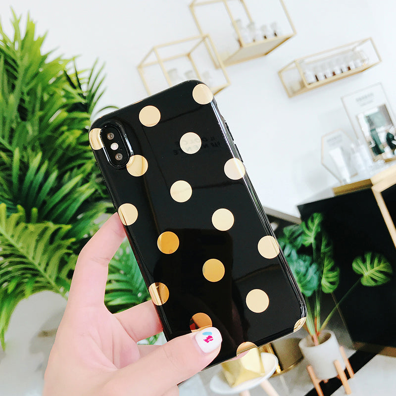 Designer Gold Polka Dots Fashion Phone Case For iPhone X iPhone 6 6S 7 8 Plus Luxury Soft IMD Glossy Cases His and Hers iPhone Cases