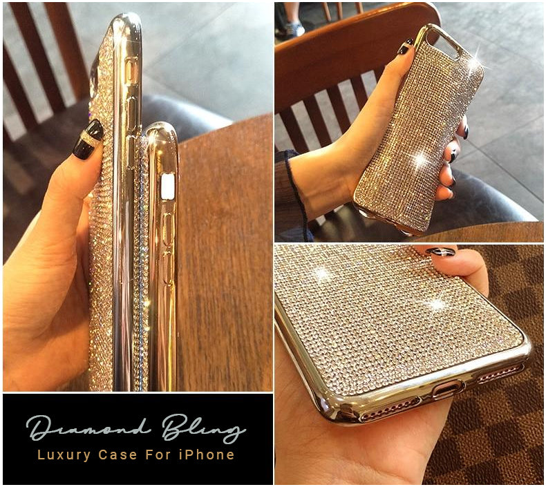 Diamond Diamante Bling iPhone Case Full Crystal Rhinestone Fashion Electroplated Soft Case For iPhone XS Max XR X 8 7 6 6S Plus 5 5S SE