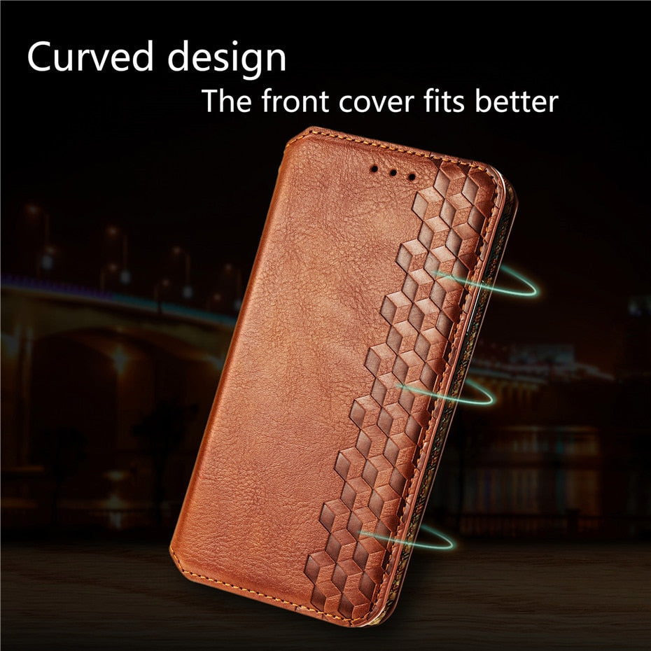 Diamond Lattice Design Luxury PU Leather Card Holder Wallet Case For iPhone 11 Pro XS Max SE 2020 XR X 7 8 6S 6 Plus PU Wallet With Magnetic Flip Stand