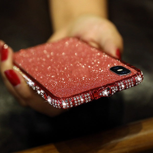 Diamond Studded Bumper Phone Case For iPhone XS Max XR 8 7 6 6S Plus Glitter Rhinestone Metal Frame With Back + Front Film Screen Protectors