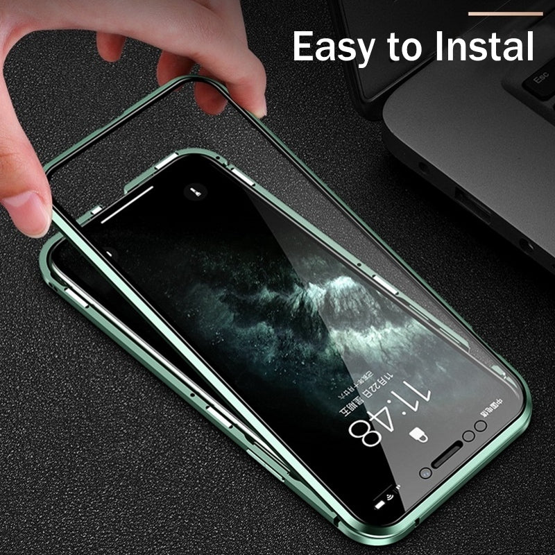 Double Sided Glass Magnetic Metal Frame Case For iPhone 11 Pro Max X XR XS MAX With Camera Lens Protection Tempered Glass Aluminum Case For iPhone 11