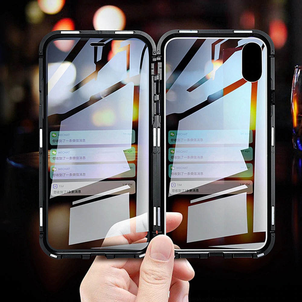 Double Sided Transparent Glass Case For iPhone 6 7 8 Plus XS Max Xr X M Case for iPhone With Magnesium Alloy Magnetic Adsorption Frame