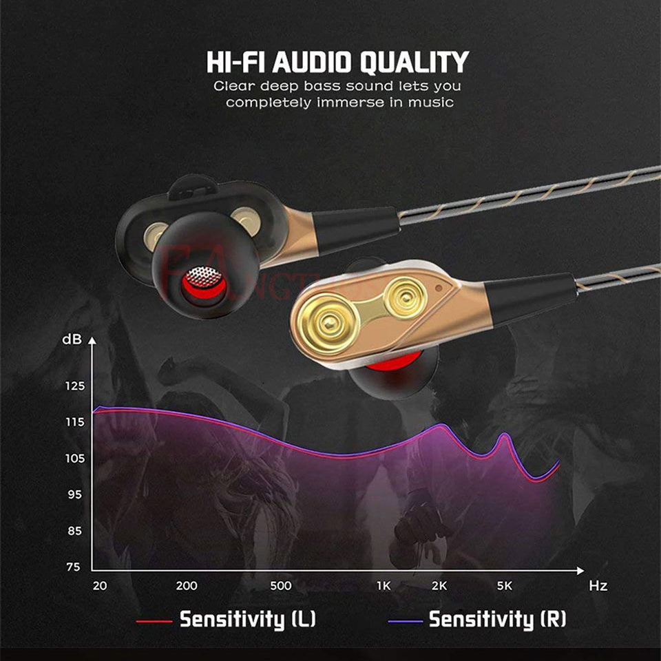 Dual Drive Stereo Headphones For iPhone Headset In-ear Earbuds Bass Earphones For Huawei Xiaomi 3.5mm Jack Earphones With Mic