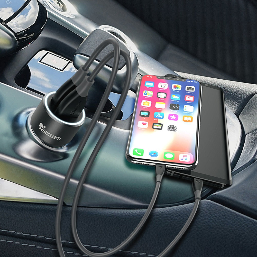 Dual Dual USB Mini Car Charger Compact Portable Metal In-Car USB Phone Charger For Samsung iPhone Phones
