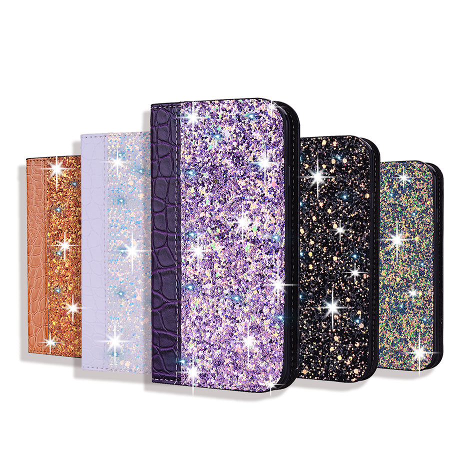 egant Glitter Bling Soft PU Crocodile Leather Flip Book Case For iPhone 7 8 6 6S Plus 5S Funda Case for iPhone X XR XS Max 11 Pro Max Wallet Case With Kickstand