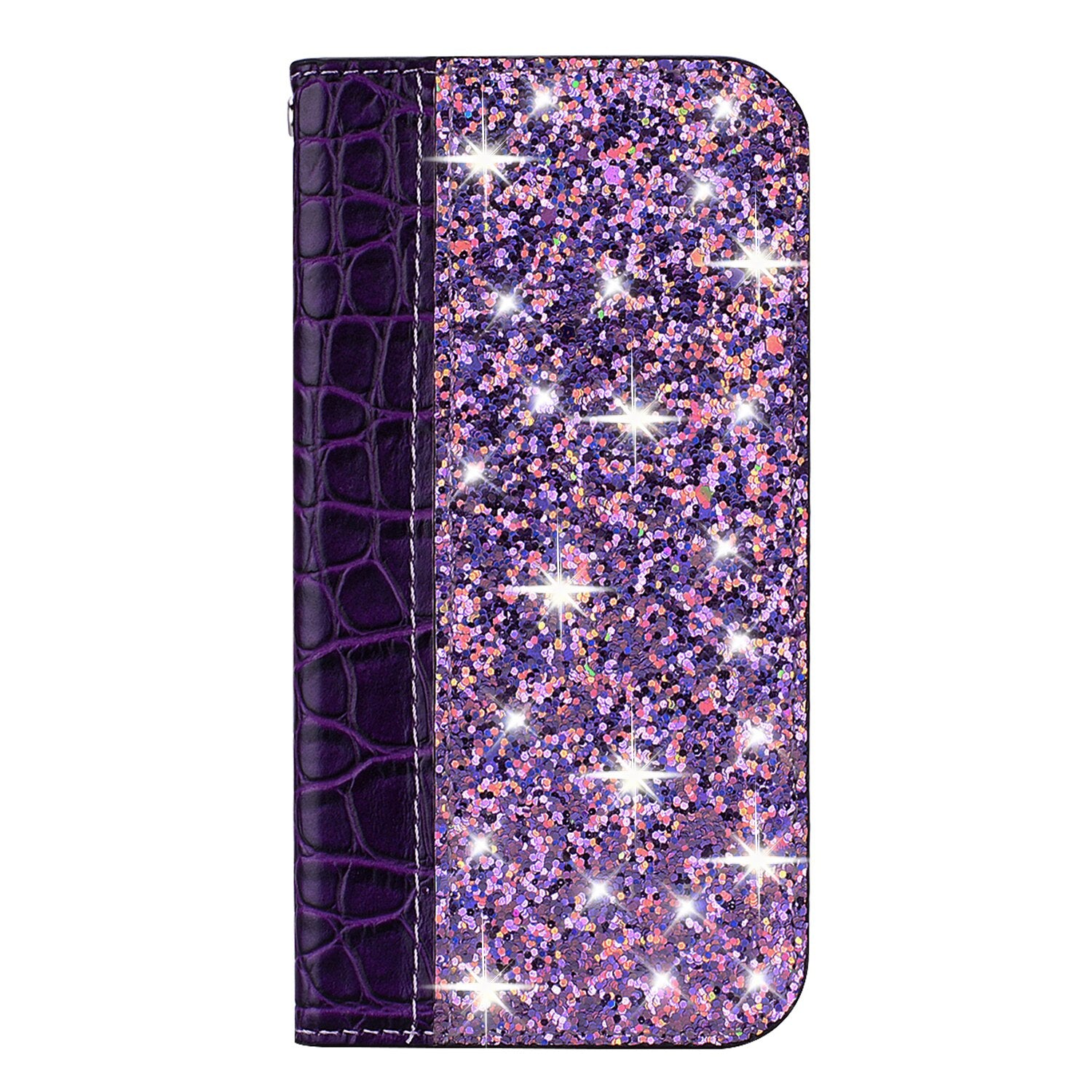 Elegant Glitter Bling Soft PU Crocodile Leather Flip Book Case For iPhone 7 8 6 6S Plus 5S Funda Case for iPhone X XR XS Max 11 Pro Max Wallet Case With Kickstand