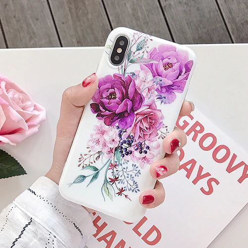Exotic Tropical Island Floral Phone Case For iPhone XS Max XR 6 6S 7 8 Plus X Retro Style Banana Leaf Flowers Soft Phone Back Fitted Case