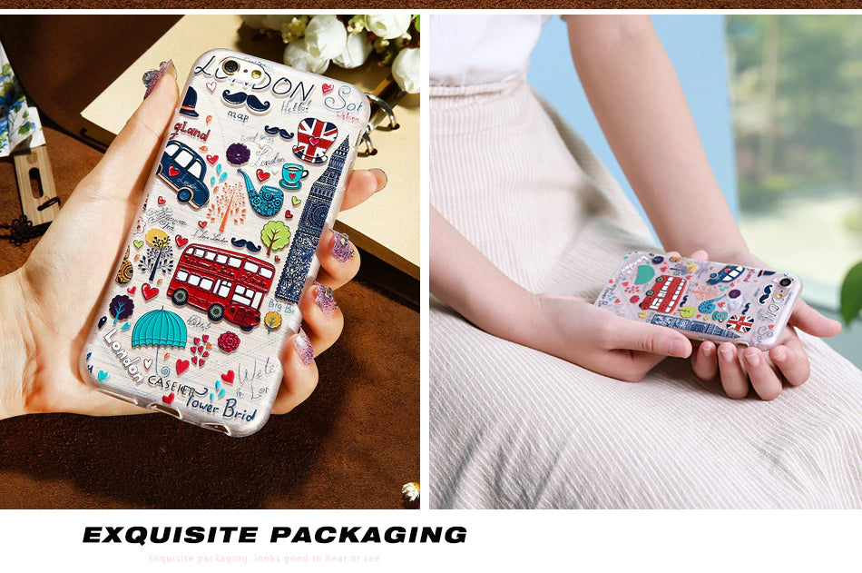 Fashion Art Doodle Patterned Phone Cases For iPhone 7 8 Plus Soft Silicone Cover For iPhone 6 6s Plus X XS MAX XR 5S