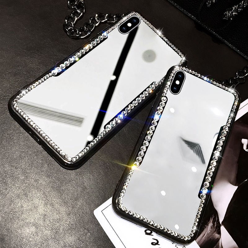 Fashion Bling Diamond Rhinestone Mirror Case For iPhone 11 Pro XR XS MAX X 8 7 6 6S Plus Clear Luxury Jewelled Glamour Cases For iPhone 11Pro Max