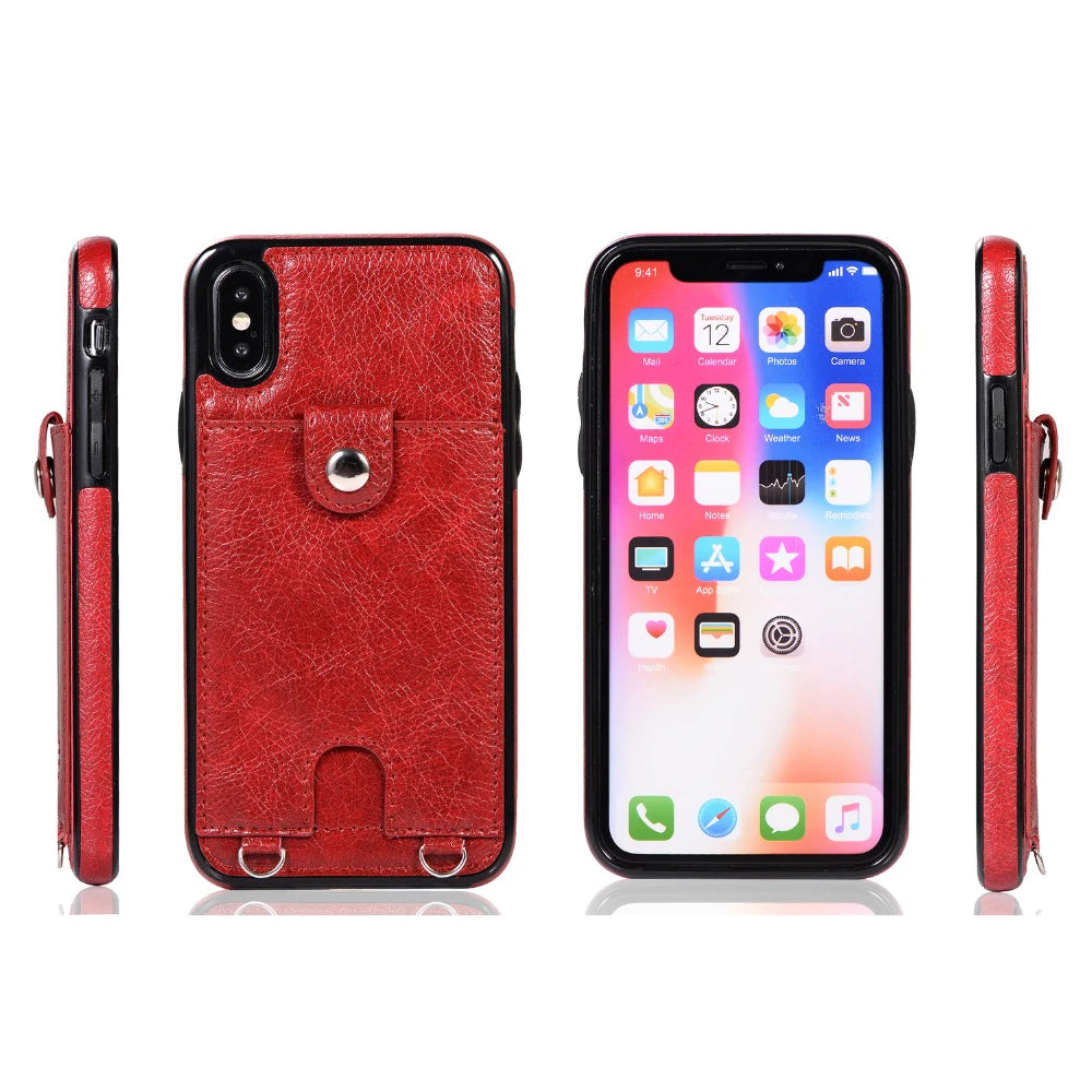 Fashion Slimline Leather Wallet Case for iPhone XS MAX X XR Case With Card Holder Pocket Cover for iPhone 8 7 6 6S Plus iPhone Case With Lanyard Strap