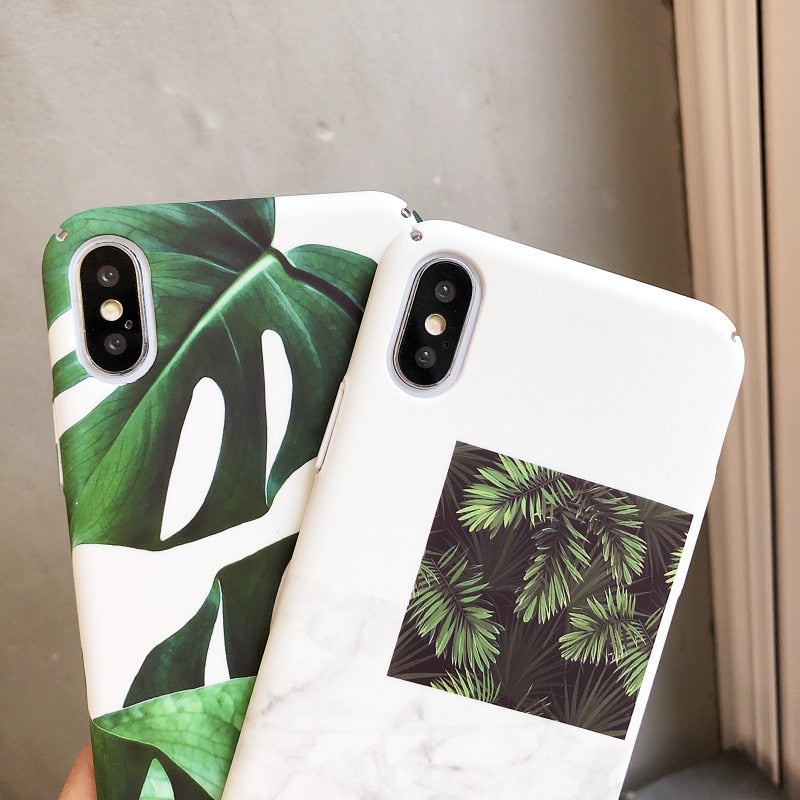 Fashionable Tropical Summer Leaves Cases For iPhone 7 Clear White Cases Silicon Fitted Case With Green Leaves Prints For iPhone 7 6 6S 8 Plus X