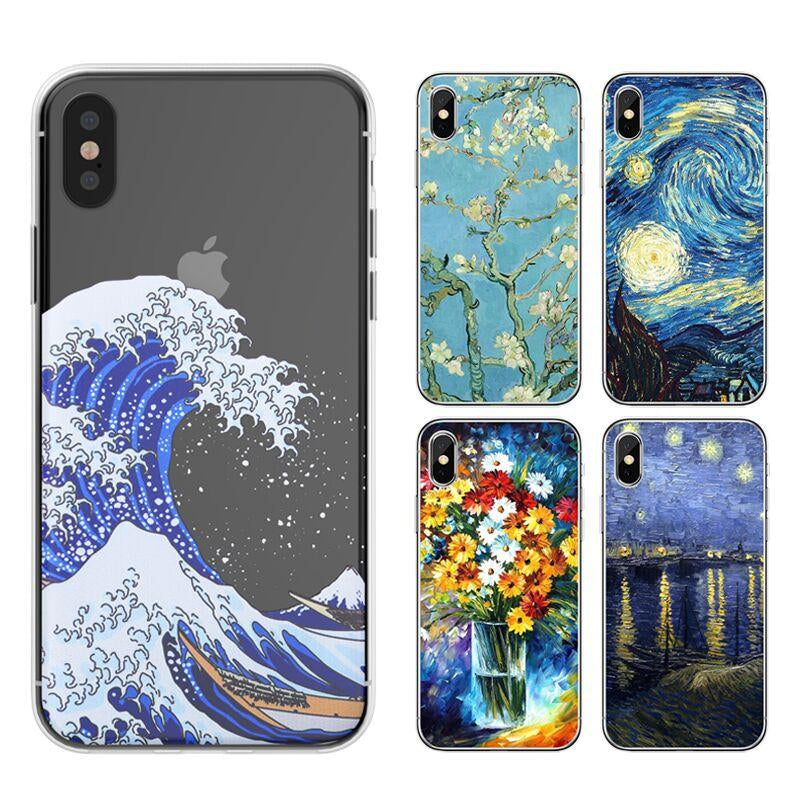 Fine Art Phone Case for iPhone 5 6 7 8 Plus X Ultra Thin Transparent Vintage Oil Painting Art Phone Case For iPhone X