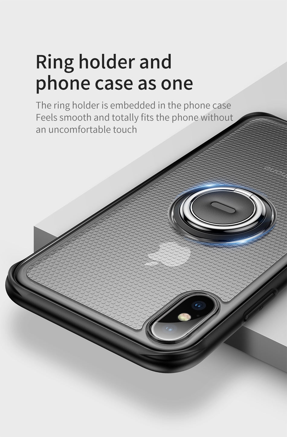 Finger Ring Holder Case For iPhone XS Max XR X With Kickstand Soft TPU Protective Cover 360 Degree Rotatable Finger Ring Case For iPhone