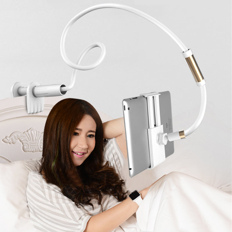 Flexible Long Arm Tablet Holder Adjustable Stand For iPhone iPad Tablet No Hands Viewing Support With Clampable Mount For Tablets To 10.6 inch Extends 1.3mtr