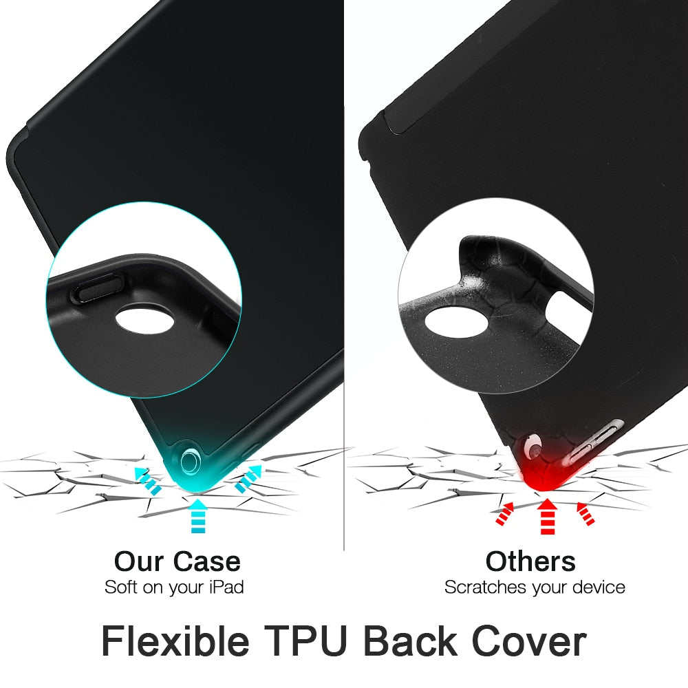 """Flexible Soft TPU Back Cover Case for 2020 iPad 8th Gen iPad Air4 iPad Pro 11'' 12.9'' Inch Soft TPU Smart Case With Pencil Holder Case For iPad Pro 12.9"""""""