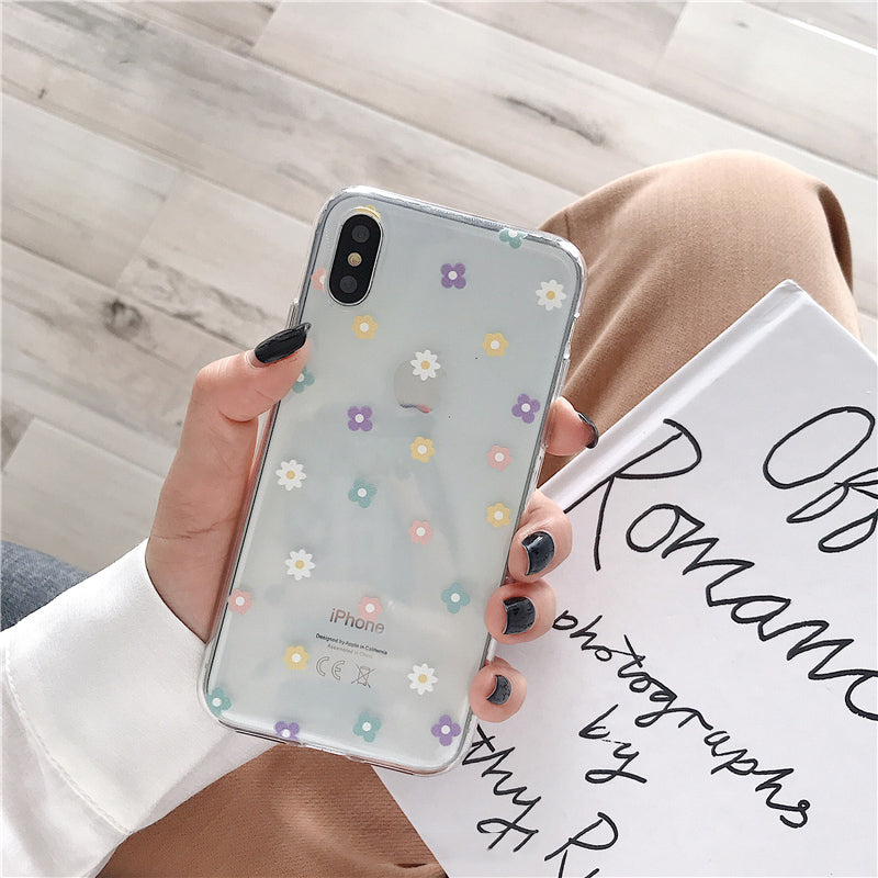 Floral Love Heart Transparent Phone Cases For iPhone X XS Max XR 6 6S 7 8 Plus Case Soft Silicone Anti-Knock Protective Back Case For iPhone