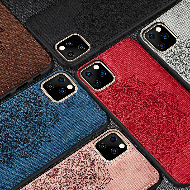 Floral Pattered Textured Fabric Case For iPhone 11 Pro Max Soft Silicone Bumper Case With Magnetic Cover For iPhone 12 6 6s 7 8 Plus X XS XR SE 2020