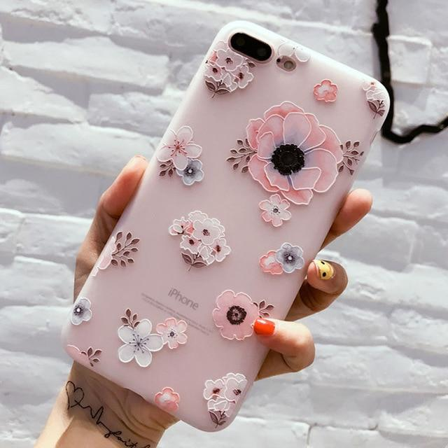 Floral Silicon Phone Case Flowery Rose Design Case For iPhone 7 8 Plus XS Max XR X 8 7 6 6S Plus 5 SE Soft Phone Case