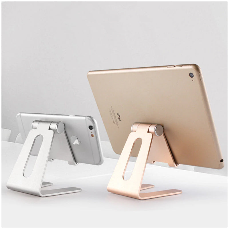 Foldable Aluminium Table Top Tablet Holder Phone Holder Constructed From Metal Alloy Phone Holder Rotatable Portable Desktop Tablet Holder for iPad iPhone Samsung