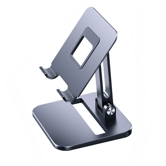 Foldable Portable Dual Adjustment Aluminum Stand For iPad Tablet Desktop Mount For iPhone Smartphone Table Stand High Quality Alloy Metal With Non-Slip Silicon