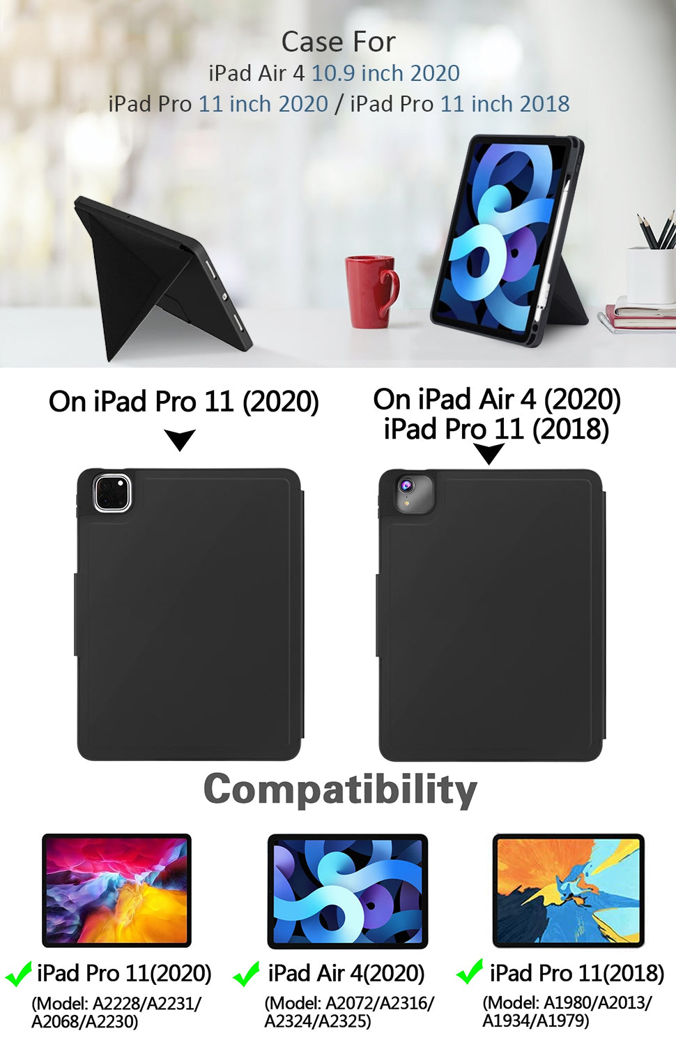 Folding Standing Case for iPad Air 4 10.9 inch 2020 & iPad Pro 11 Multi-Angle Protective Cover For iPad Soft TPU Back Cover with Pencil Holder