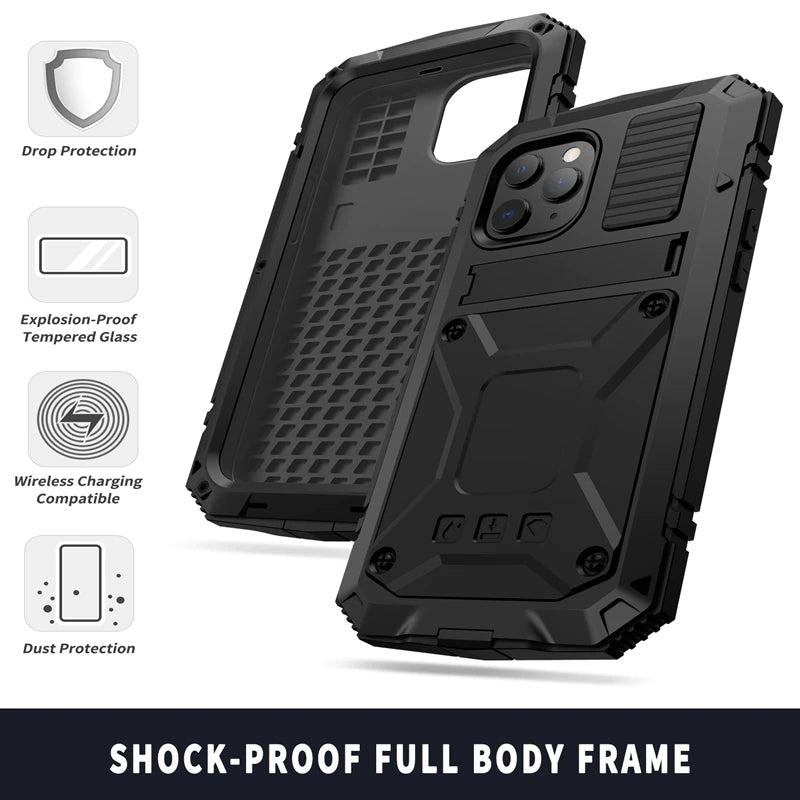 Full-Body Armor Rugged Shockproof Case for iPhone 13 12 Pro Max 11 Pro Max Mini Silicon Aluminum Metal iPhone Case With Kickstand