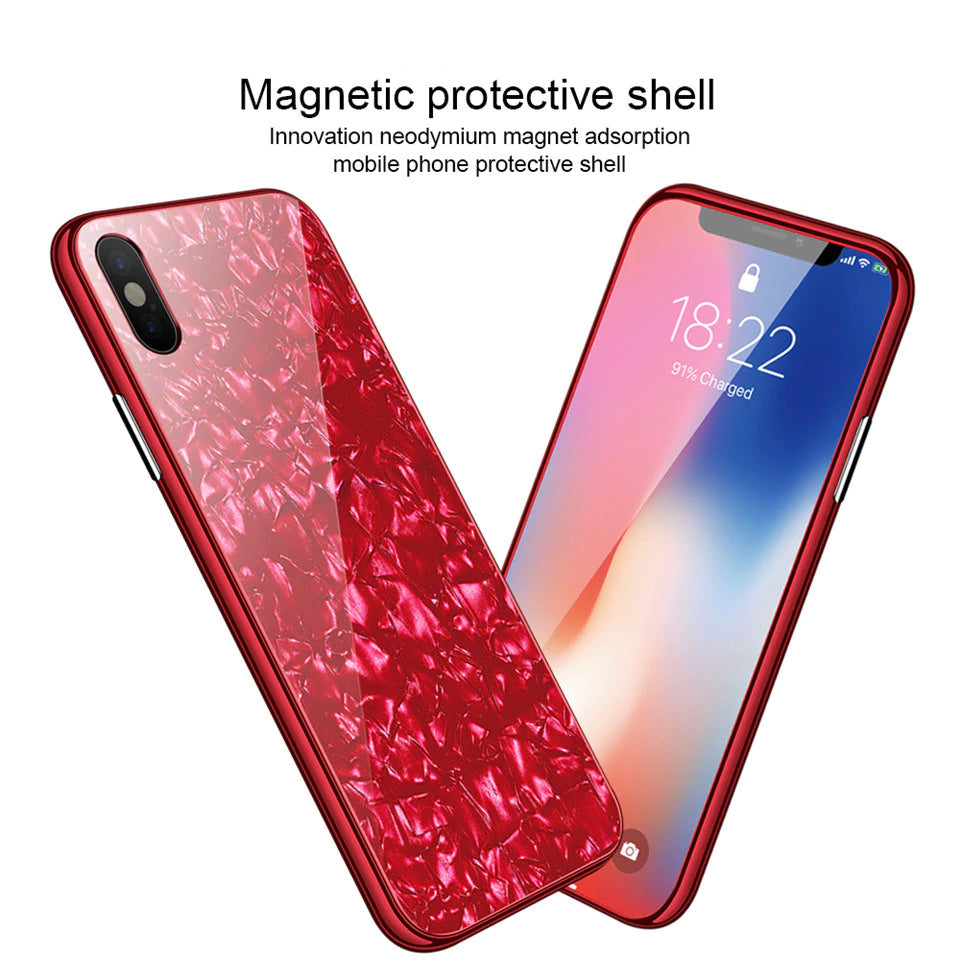 Full Body Protection Ultra-Thin Glossy Phone Case for IPhone X 6 6S 7 8 Plus Tempered Glass Case Hard PC Cover With Magnetic Absorption Technology