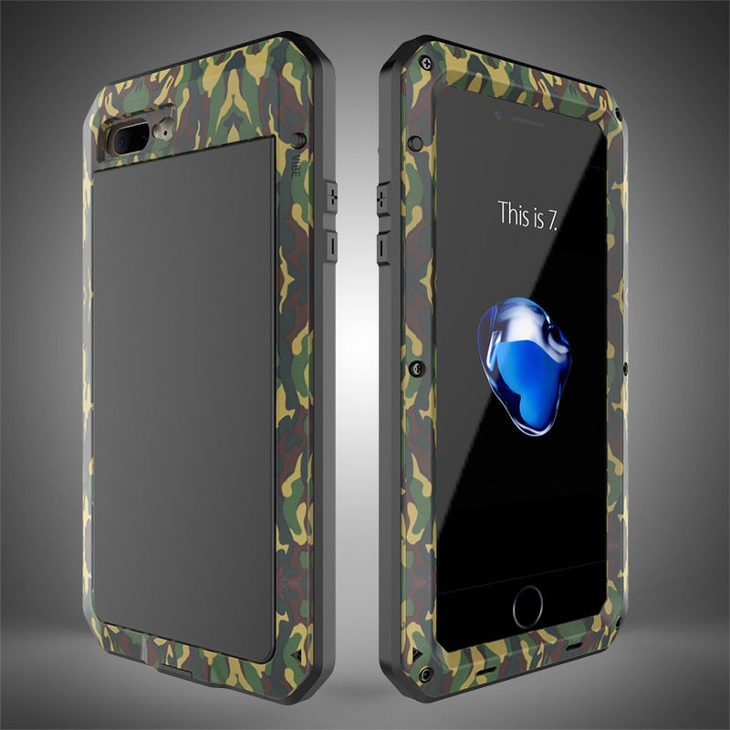 Full Body Rugged Military Protection TANK Case For iPhone Anti-Drop Anti-Shock Heavy Duty Aluminum Sealed Metal Shockproof Case For iPhone 11 12 Mini Pro XS MAX XR 6 7 8 Plus Cover