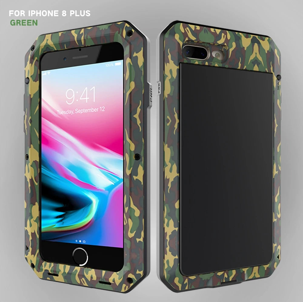 FULL BODY RUGGED MILITARY PROTECTION TANK CASE FOR IPHONE ANTI-DROP ANTI-SHOCK HEAVY DUTY ALUMINUM SEALED METAL SHOCKPROOF CASE FOR IPHONE 11 12 MINI PRO XS MAX XR 6 7 8 PLUS COVER.