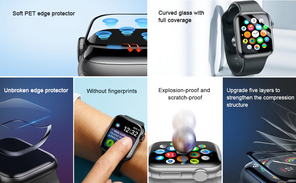 Full Coverage 0.23mm Thin Tempered Glass For Apple Watch 1 2 3 3D Protective Glass For iWatch 1 2 3 Screen Protector Film