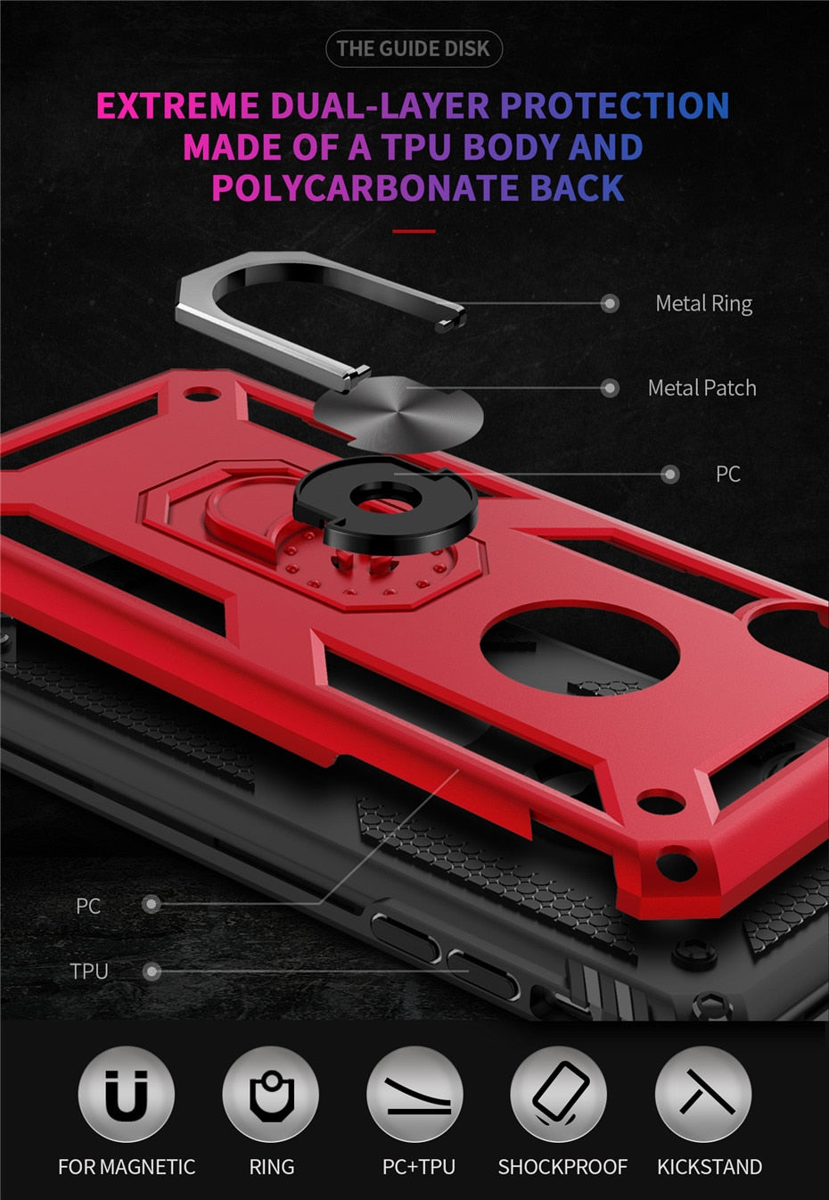 Full Protection Armor Case For iPhone Shockproof Metal Aluminum Case With 360 Degree Rotating Ring Kickstand For iPhone X XS XR XS Max 11 Pro Max SE 2020 12 Pro Max