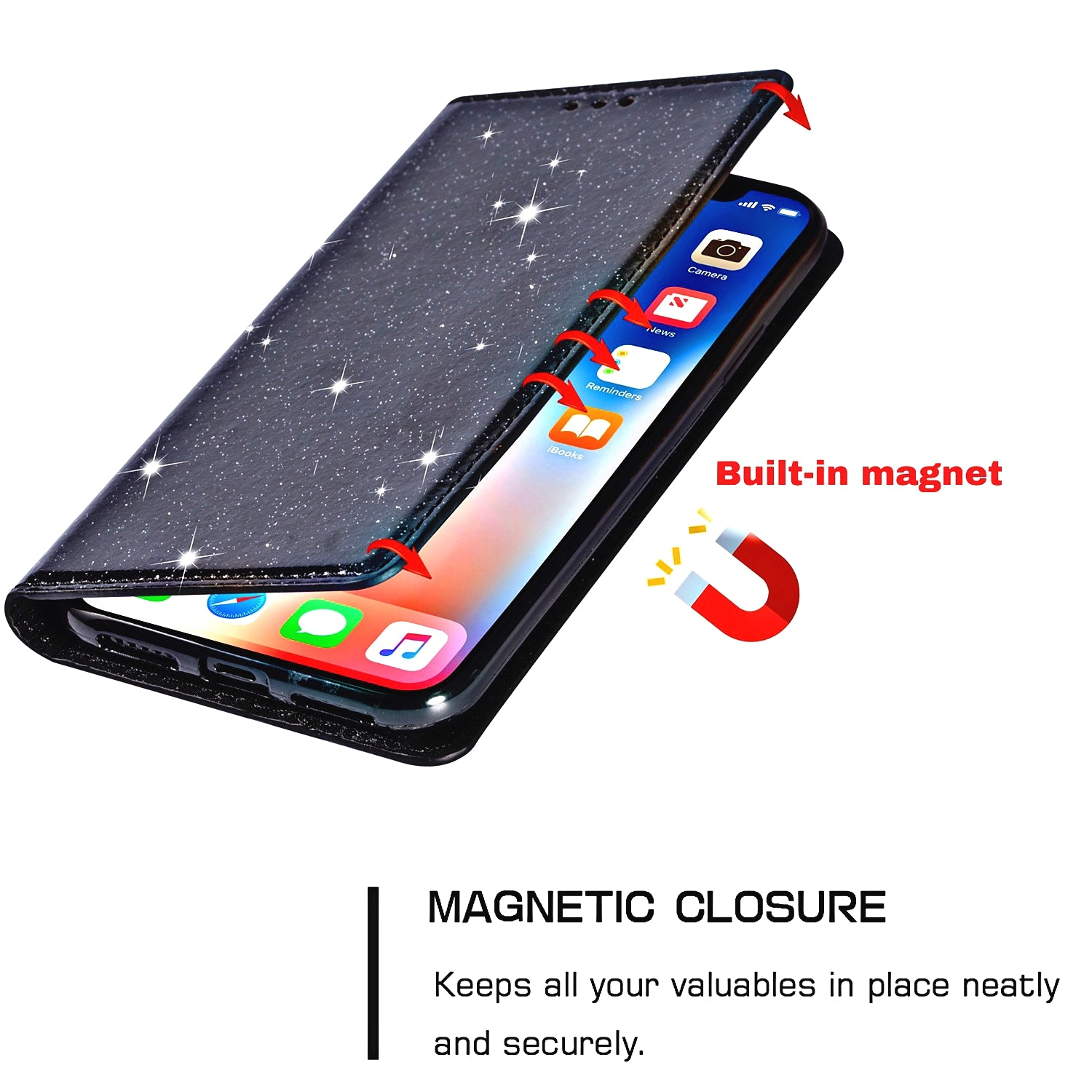 Glittering Case For iPhone 11 Pro Max X XR XS Wallet Premium Quality PU Leather Case With Flip Stand Silicone Case For 8 7 6 6S Plus 5 Glitter Case With Flip Cover Card Slot