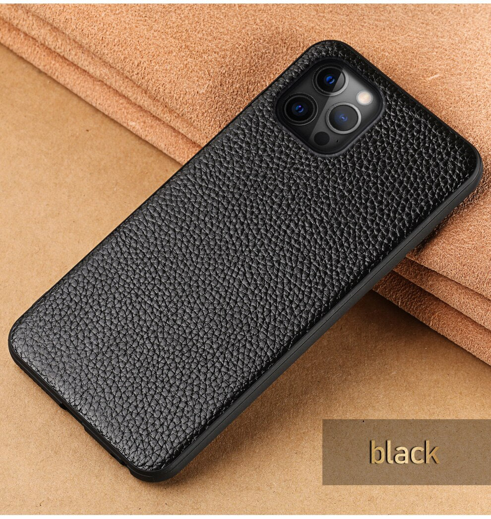 Genuine Grain Leather iPhone Case For iPhone 12 Pro Max 12 Mini 11 Pro Max X XR XS Max 6 6S 7 8 Phone Cover For iPhone Plus Se 2020 Real Leather iPhone Case