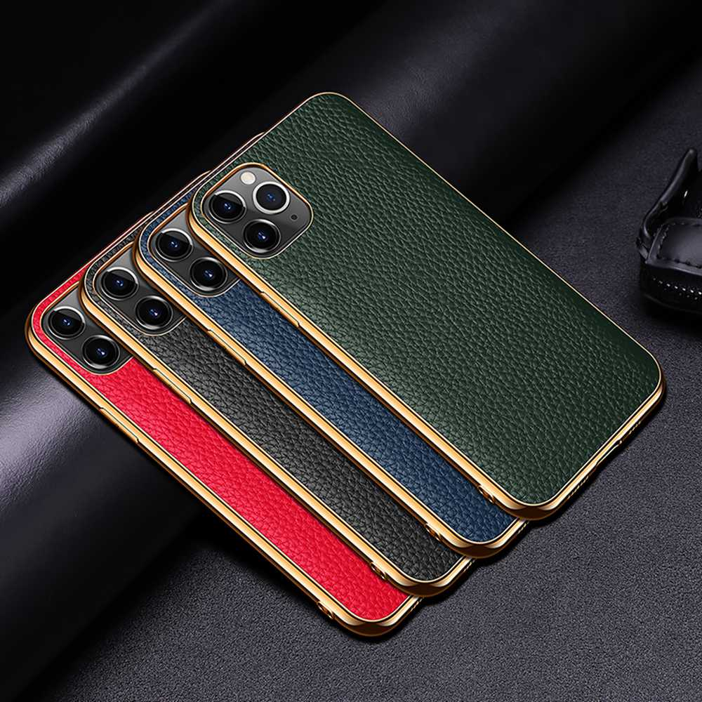 Genuine Leather Luxury Case For iPhone 12 Mini 11 Pro Max 11  Pro 12 Pro 12Mini X XR XS Max Case Grained Hide Cover Plated Bumper Soft Edge Case For iPhone