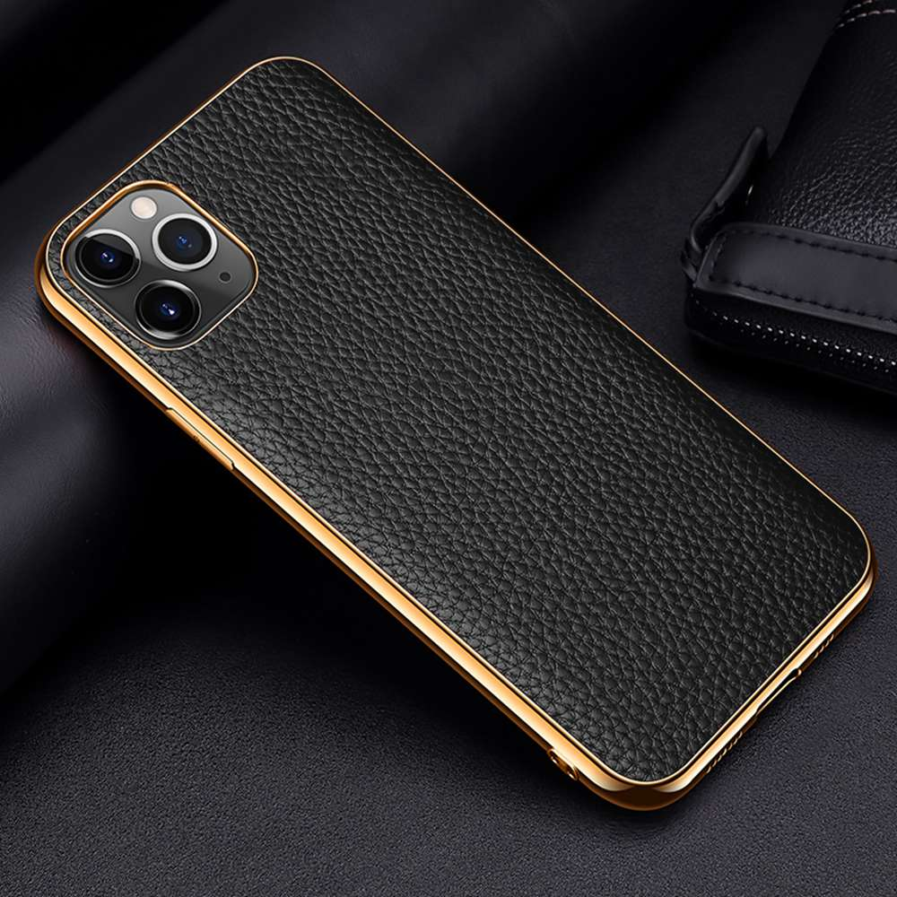 Genuine Leather Luxury Case For iPhone 12 Mini 11 Pro Max 11 Pro 12 Pro 12 Mini X XR XS Max Case Grained Hide Cover Plated Bumper Soft Edge Case For iPhone