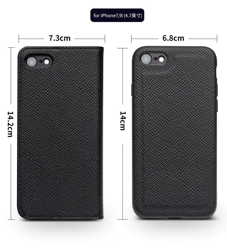 Genuine Leather Wallet Phone Case for Apple for iPhone 7/8 Case Business Card Holder Fashion Business Flip Style Cover for iPhone 7/8 Plus