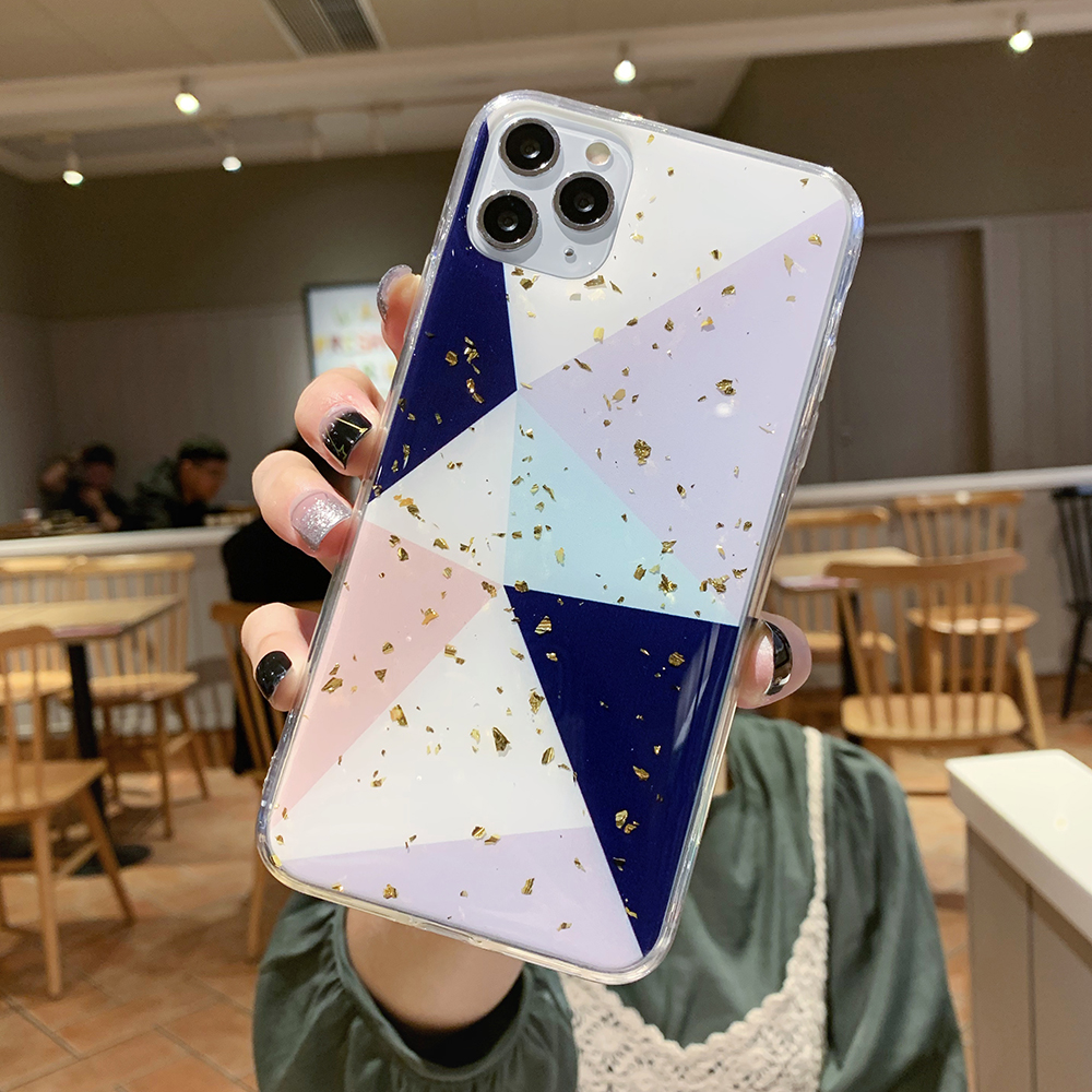 Geometric Glitter Leaf Tropics Phone Case For iPhone 11 Pro Max XR XS Max 6 6S 7 8 Plus X Soft Fitted Back Cover Case