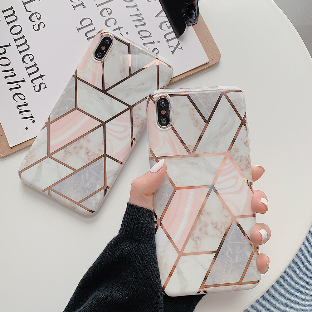Geometric Marble Design Phone Cases For iPhone XR XS Max 6 6S 7 8 Plus X Soft Protective Fitted Case For iPhone With Optional Crystal Finger Ring