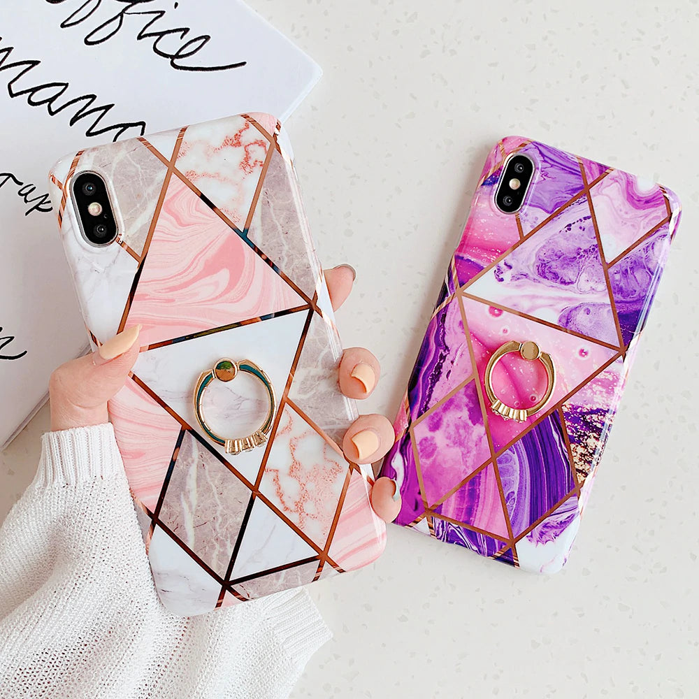 esign Phone Cases For iPhone XR XS Max 6 6S 7 8 Plus X Soft Protective Fitted Case For iPhone With Optional Crystal Finger Ring