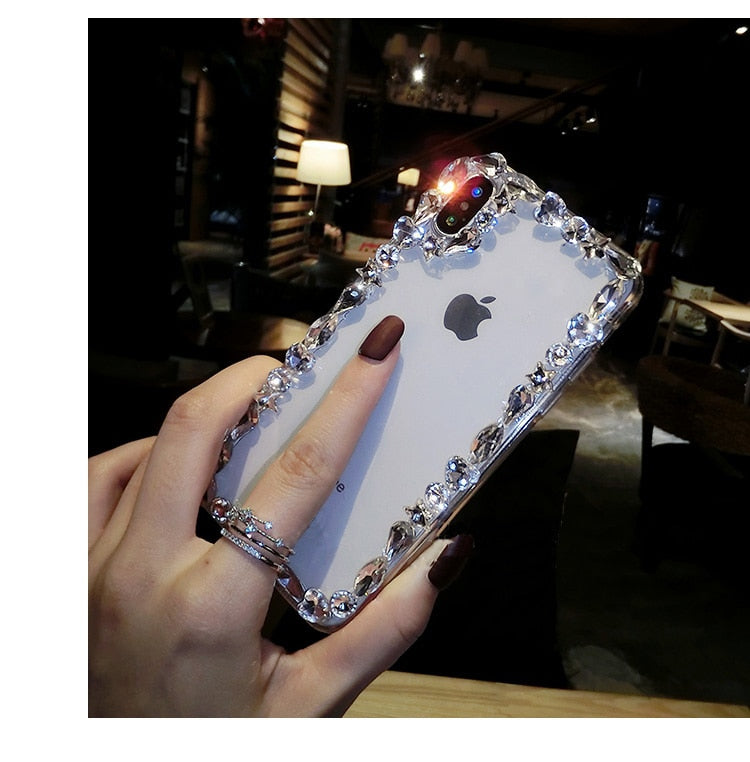 Glamorous Fashion Crystal Bling Case For iPhone X XR XS Max 6 6S Plus 7 Plus 8 Plus Glossy Transparent Sparkling Jewelled Edge Case for iPhone