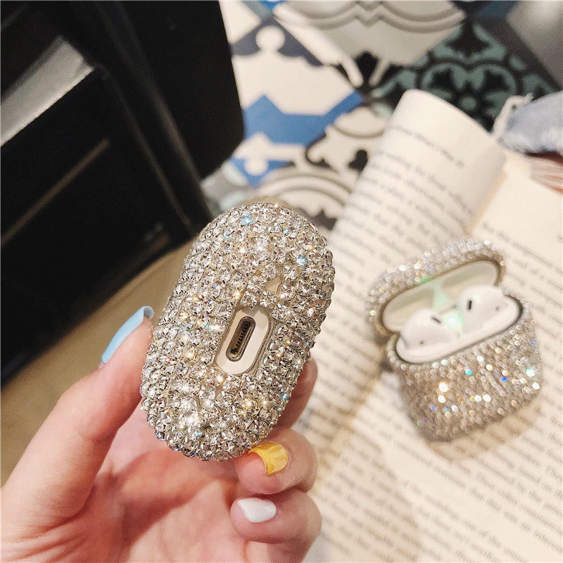 Glitter Bling Diamond Rhinestone Hard Shell Case For Airpods Earphones Apple Air Pods Case Storage Protective Cover For Apple AirPods