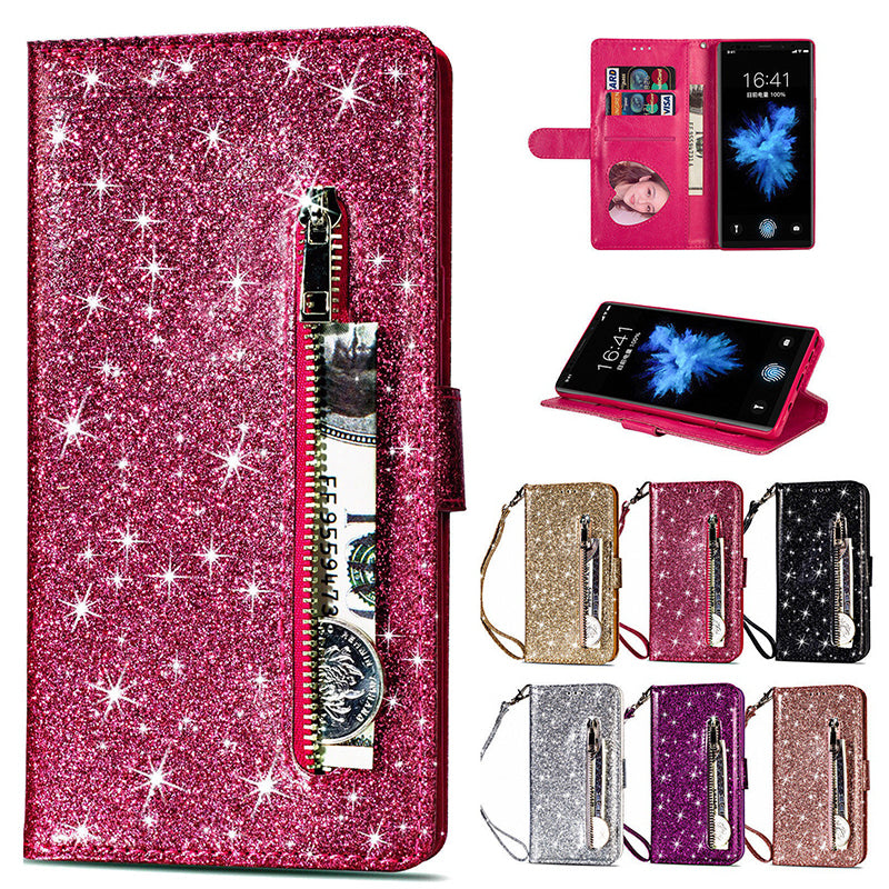 Glitter Bling Purse Wallet Card Holder Case For iPhone 6 6s Plus 7 8 Soft PU Leather Card Holder Phone Cover For iPhone 11 Pro Max XR XS Case With Zip Pocket & Strap