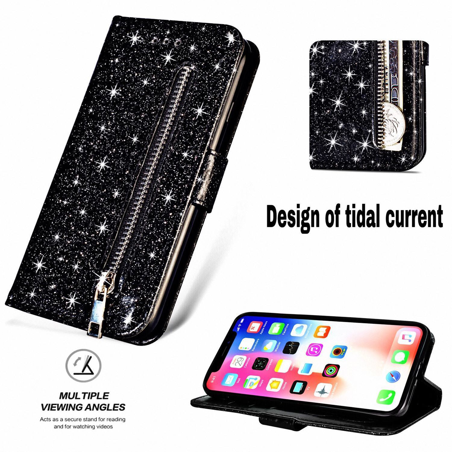 Glitter Bling Purse Wallet Card Holder Case For iPhone 6 6s Plus 7 8 Soft PU Leather Phone Cover For iPhone 11 Pro Max XR XS Case With Zip Pocket & Strap