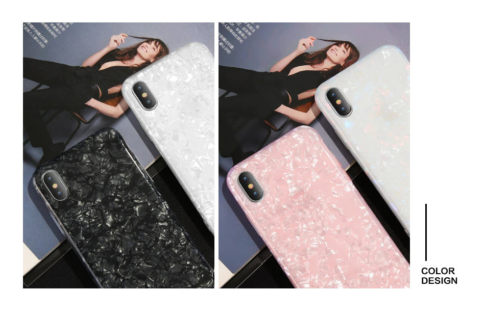 Glitter Dream Pearl Pattern Phone Case For iPhone 6 7 Plus Glossy Shell Design Soft Silicone Case For iPhone X XS Max XR 6S 7 8 Plus