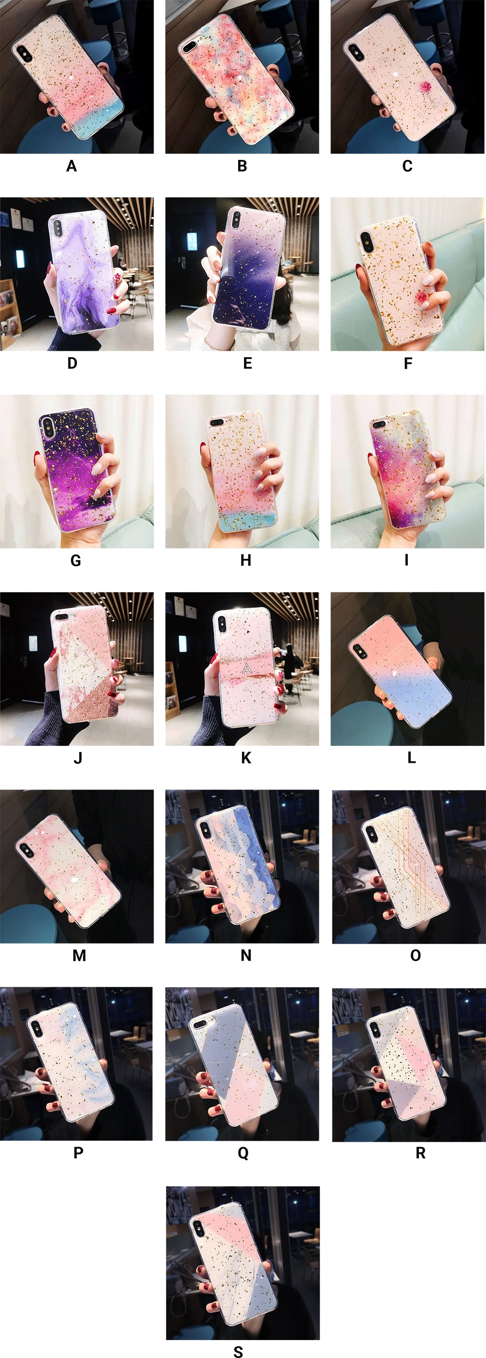Glittery Gradient Marble Cases For iPhone XS Max XR XS X 6 6S 7 8 Plus Soft TPU Fitted Protective Case Gold Dust Back Cover For iPhone