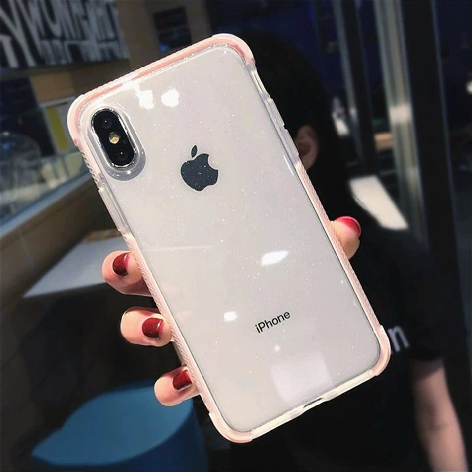 Glitter Powdered Transparent Case For iPhone XS Max XS X 7 6 S 8 Plus Protective Cover Soft Sparkling TPU Fitted Shockproof Case for iPhone