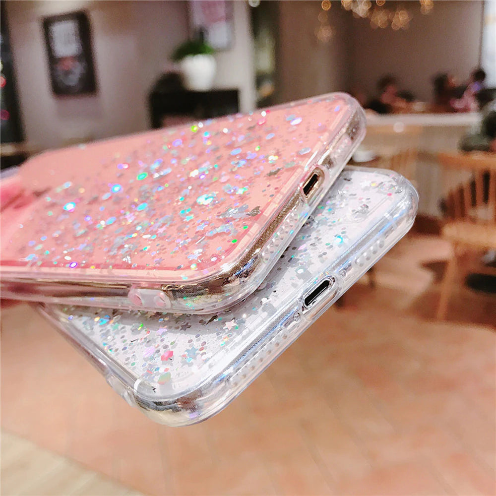 Glitter Stars Transparent Case For iPhone X XR XS MAX 10 8 7 Plus 6 6s  Soft TPU Protective Cover With Sparkling Sequins Subtle Bling Clear Case