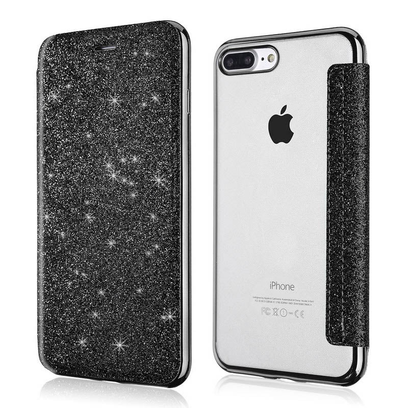 Glittering Bling Soft PU Leather Flip Wallet Fashion Case For iPhone 11 Pro XS Max XR X 8 8Plus 7 7 Plus 6 6s Plus 5 5S SE High Quality Clear Back Soft TPU Card Holder Case
