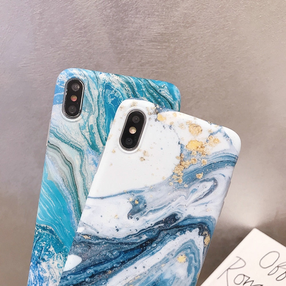 Glittery Blue Marble Case For iPhone X XR XS MAX Case For iPhone 6 6S 7 8 Plus Case Soft TPU Back Cover For iPhone Cover Glossy iPhone Case
