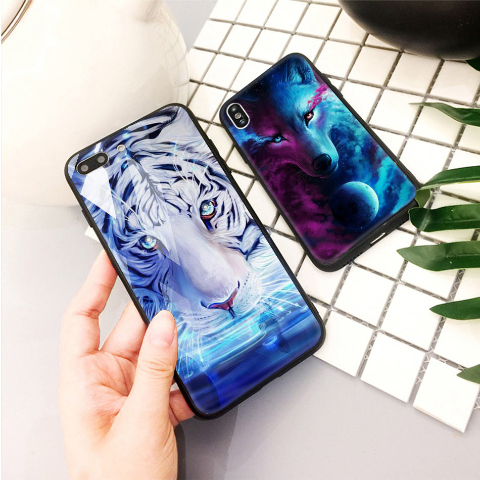 Glossy Animal Cover Phone Case For iPhone X XR 8 7 10 6 6s XS Max Animal Case For iPhone 7 8 X 6 6 S Plus XR Luxury Case